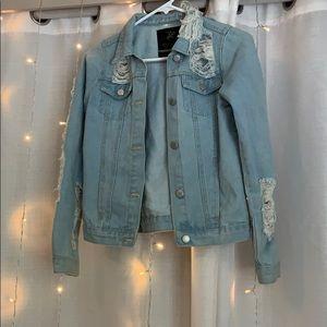 Trendy ripped Jean jacket